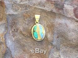 Magnifique Pendentif Australien À Opale Boulder Solide De 18 Carats Or, Vert Et Bleu