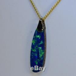 Magnifique Rocher Verts Australien Opale Doublet Pendentif En Or Massif 18 Carats (15230)