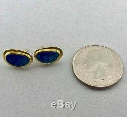 Magnifiques Boucles D'oreilles En Or Jaune Massif 18k Avec Opale Verte Bleue! Livraison Gratuite