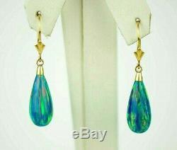 Marine Verte Opale Tear Drop Leverback Boucle D'oreille Or Massif Jaune 8 MM X 18 MM