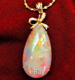 Massive Solide Australian Opal 40 Carats Or 14k Pendentif Diamant Énorme Reds