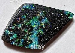 Matrix Noir! 15.8ct Solid Boulder Opal Vert Et Multicolore Freeform Queensland
