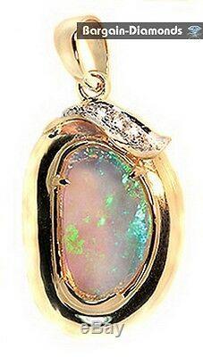 Meilleure Opale Solide + Diamants 1.32 Pendentif En Or 14k Rouge Vert Bleu Australien