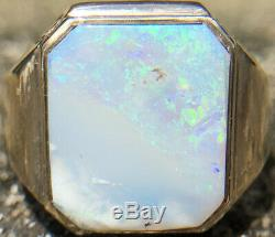 Men Blue Green 100% Australian Natural Opal 13x12mm 10k Or Jaune, Taille 10