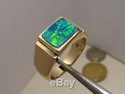 Mens Black Opal Élégante Bague 10,5 Grammes D'or Massif 14 K