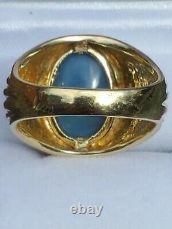 Mens Large Solid Black Opal Ring 18k Reds Bleu Vert Jaune Orange N2 B1