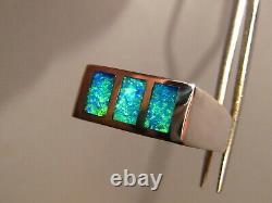 Mens Opal Ring Solide Australian Gem Opal Ring. 925 Taille Argent 11 1/4