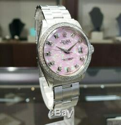 Mens Vintage Rolex Oyster Perpetual Date De 34mm Rose Opal Cadran Inoxydable