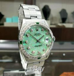 Mens Vintage Rolex Oyster Perpetual Date De 34mm Vert Opal Cadran Inoxydable