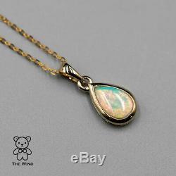Minimaliste En Forme De Poire Australienne Solide Collier Opale Pendentif En Or Jaune 14k