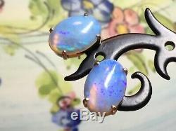 Modern14 Ct Or Massif Jaune Stud Opale État Ex Boucle D'oreille Bleu / Vert