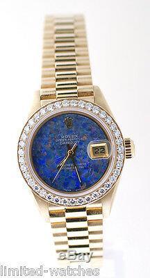 Montre Rolex Ladies President 69178, Cadran En Pierre D'opale En Or Jaune Et Lunette Sertie De Diamants