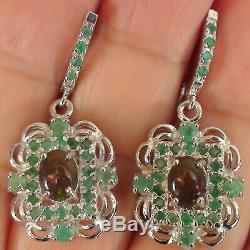 Natural Black Opal, Boucles D'oreilles Vert Émeraude Argent Massif 925 Sterling