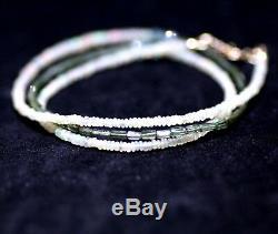 Natural Green Tourmaline Et Opal Collier Superposition Wrap Bracelet Or Massif 14k