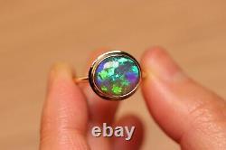 Natural Solid Australian Opal Ring Blue Green Lightning Ridge Opal 9k Or