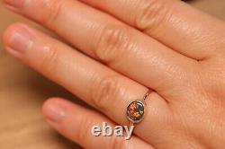 Natural Solid Australian Opal Ring Orange Green On Black Opal 9k Or