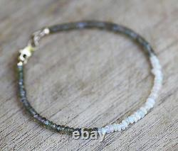Natural Welo Opal Green To Champagne Sapphire Bracelet Solid 14k Gold 5ème 14ème