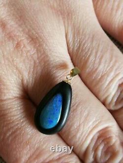 Naturel Australien Triplet Électrique Vert Bleu Opal Massif 18ct Pendentif En Or