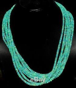 Naturel Éthiopien Vert Opale Perles 16inches 925sterling Argent Massif 8necklace