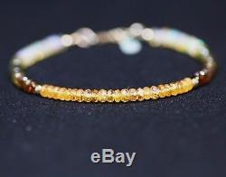 Naturel Mandarin Grenat Vert Tourmaline Opale Bracelet Massif 14k Or 14 Anniv