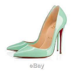 New Christian Louboutin Alors Kate Opal Mint Green Patent Chaussures En Cuir 37