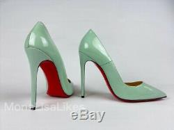 New Christian Louboutin Alors Kate Opal Mint Green Patent Chaussures En Cuir 38