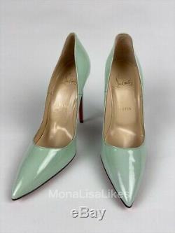 New Christian Louboutin Alors Kate Opal Mint Green Patent Chaussures En Cuir 40