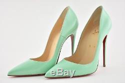 Nib Christian Louboutin So Kate 120 Opale Vert Pompe À Talon Verni Bleu 37,5