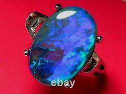 Nice Natural Solid Black Crystal Opale 6.1ct Et 2.7g Sterling 925 Silver Ring