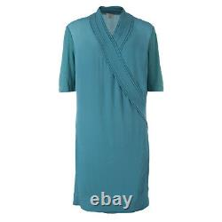 Nouveau 595 $ Burberry Brit Rainie Robe D'enrobage Vert Opale En Soie, Taille Us 4 / Eu 38