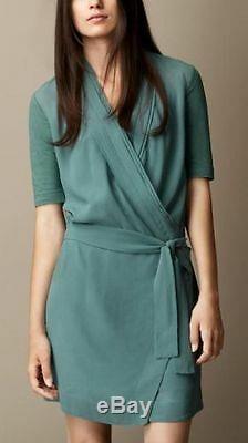 Nouveau $ 595 Robe Burberry Brit Rainie Opal Vert Soie, Taille Us 4 / Eu 38