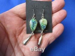 Nouveau! Étourdissant! Vert Bleu Opale De Feu Boucles D'oreilles En Solide Sterling Navajo Marqueté