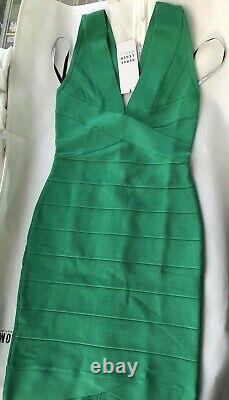 Nwt Authentic Herve Léger Rita S Green Opal V-neck Bandage Dress 790 $