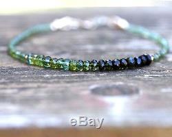 Ombre Naturelle Tourmaline Verte Bracelet En Or 14k Birthstone Solide Octobre 8 Une