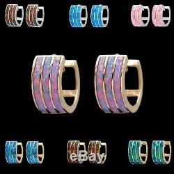 Opal Boucles D'oreilles En Or 14k Solid 3 Rangs Inlay Huggie Hoops Bleu / Vert / Rouge / Rose / Violet