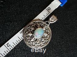 Opal Pendentif Étrusque Argent Massif Bleu Vintage Avec Le Rose Et Vert