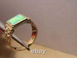 Opal Ring Homme Solide 14 K Gold Nugget Style