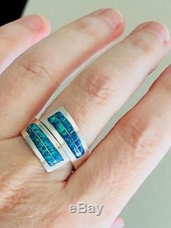 Opal'wrap Autour Du Doigt ' Anneau Sterling Solide 6 Noir Bleu Vert 925 Bypass