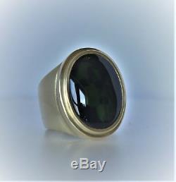 Opale Australienne Noire De 13,6 Ct En Or Jaune 18 Carats. Bague Pour Homme. Taille 11