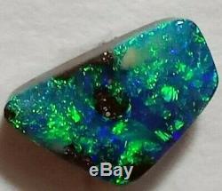 Opale Boulder Massive De Gem Vert Vif Clair 1.6ct En Forme Libre Queensland