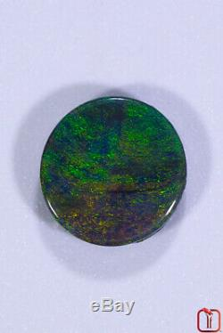 Opale Lightning Ridge Noire Solide Avec Un Motif De Lustre Vert Électrique Et Frais