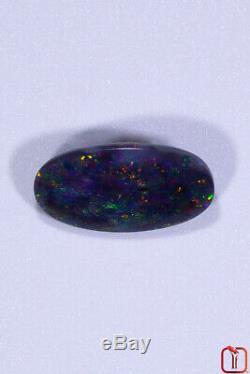 Opale Mystérieuse De Black Lightning Ridge Solide Avec Des Éclairs De Verts Verts 1.61cts