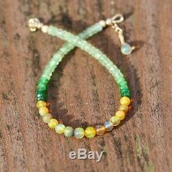 Opale Naturelle, Vert Grenat Tsavorite Bracelet Or Massif Jaune 14k 7,2 7,7