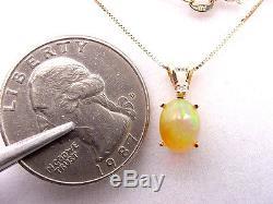 Opale Solide Naturelle Verte Jaunatre 1.10 Cts Avec Pendentif En Or 14 Carats De Diamant Avec Chaîne