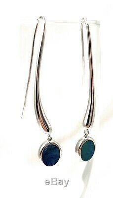Opales Australie En Argent Sterling Opale Boucles D'oreilles Vert Et Bleu Solide Opal