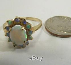 Or Massif 14 Carats, 1 / 2ct. Bague Dîner D'opale De Feu, 15 Mm, Taille 7, Économisez 400. # R523