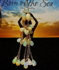 Paire Superbe Ethiopian Fire Opal 8ct Boucles D'oreilles 14k Solid Gold Dangle Drop