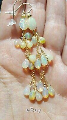 Paire Superbe Opale Ethiopienne De Feu Optique 8ct Boucles D'oreilles 14k Solide Gold Dangle Drop