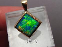 Parler Bright! Pendentif Australian Gem Opal Solide 14 Kt Or Jaune