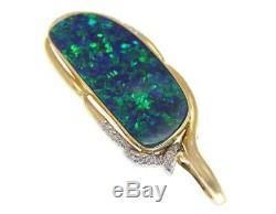 Pendentif À Diamant Avec Opale Véritables Australiens, En Or Jaune 14 Carats, 18 MM